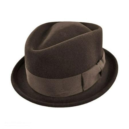 Crushable Wool Felt Diamond Crown Fedora Hat - XL - Brown