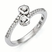 SS Rhodium-Plated CZ Brilliant Embers Heart Ring Size 6