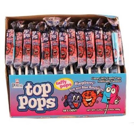 Product Of Top Pops, Blazpberry Red & Blue Raspberry Lollipops, Count 48 - Sugar Candy / Grab Varieties & - Whirly Pop Lollipop