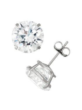 14K White Gold Men's 10Mm Cz Stud Earrings