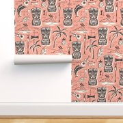 Removable Water-Activated Wallpaper Mid Century Modern Pink Tiki Palms Brown