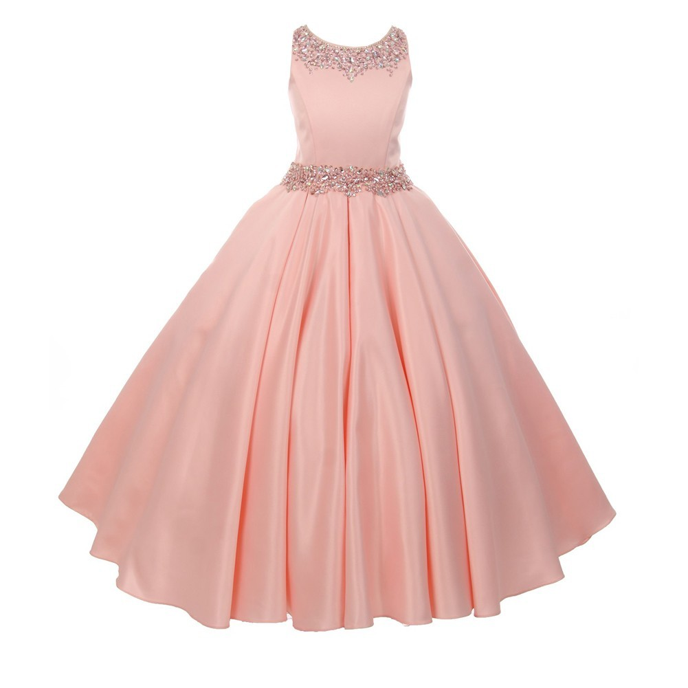 Cinderella Couture Big Girls Champagne Beaded Dull Satin Tulle Junior Bridesmaid Dress 8-16