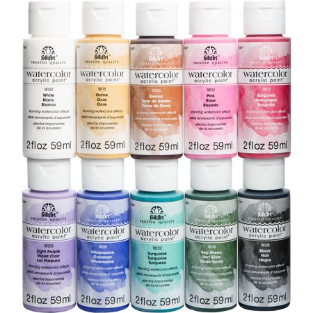 FolkArt Watercolor Acrylic Paint Set, 10 Colors, 2oz, PROMOFAWC10 Cold Water Acrylic