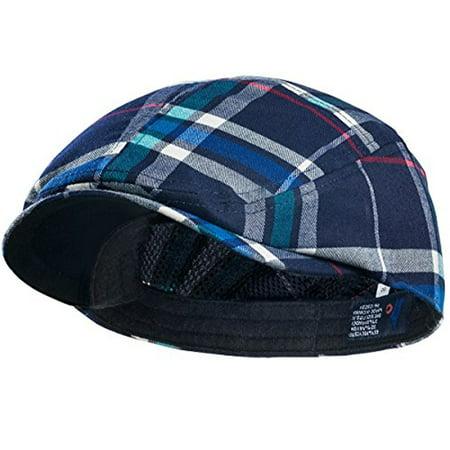 MG Plaid Ivy Newsboy Cap Hat (Large, Navy)](Mg Hats)