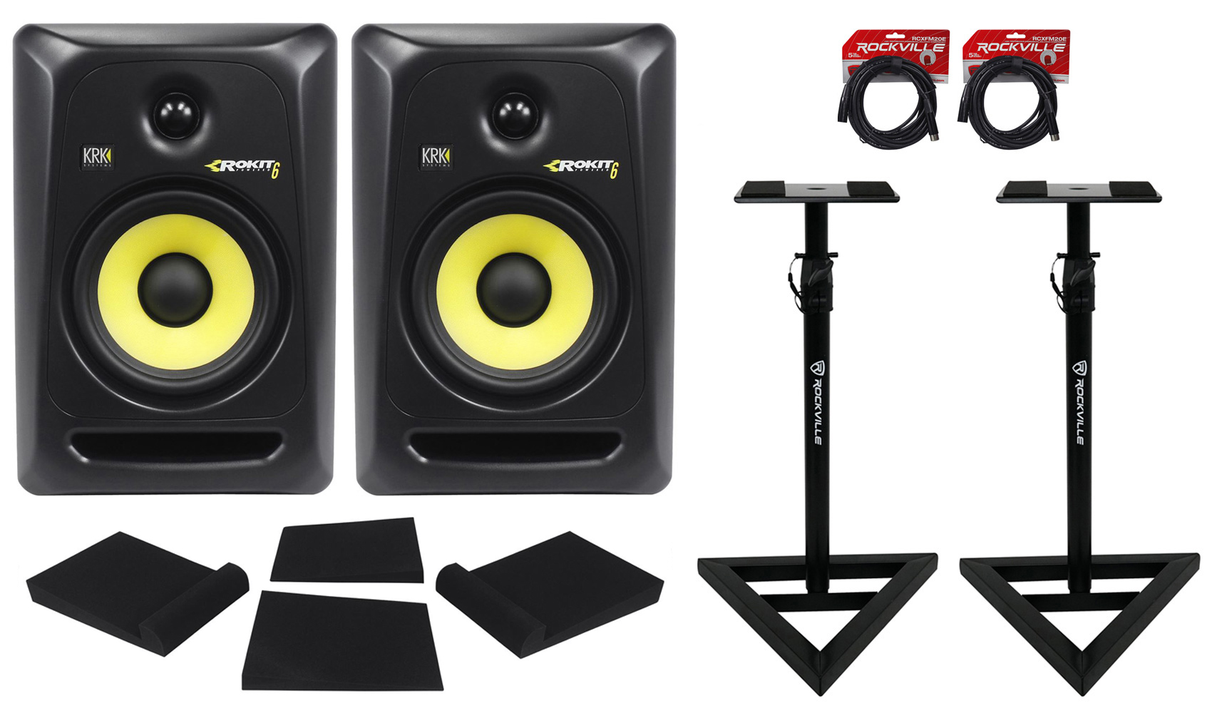 "(2) KRK RP8-G3 Rokit Powered 8"" Powered Studio Monitors+Stands+MOPAD+4 Cables by KRK"