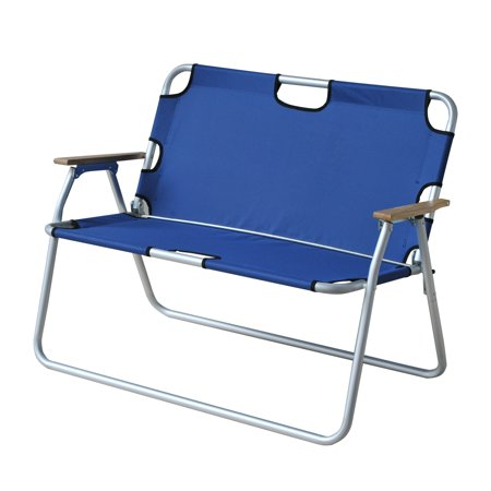 Outsunny 2 Person Folding Aluminum Love Seat Camping Chair Blue