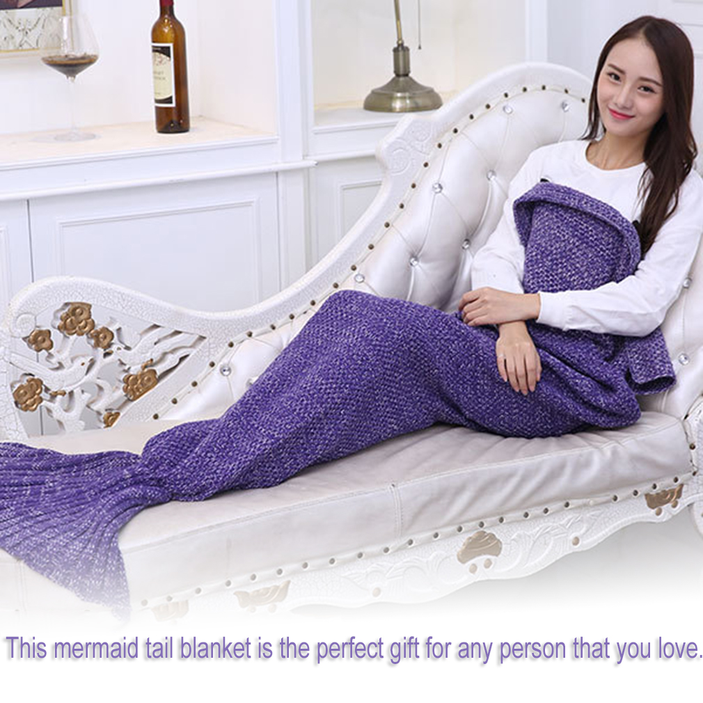 Mermaid Blanket Handmade Knitted Sleeping Wrap TV Sofa Mermaid Tail Blanket Purple... by