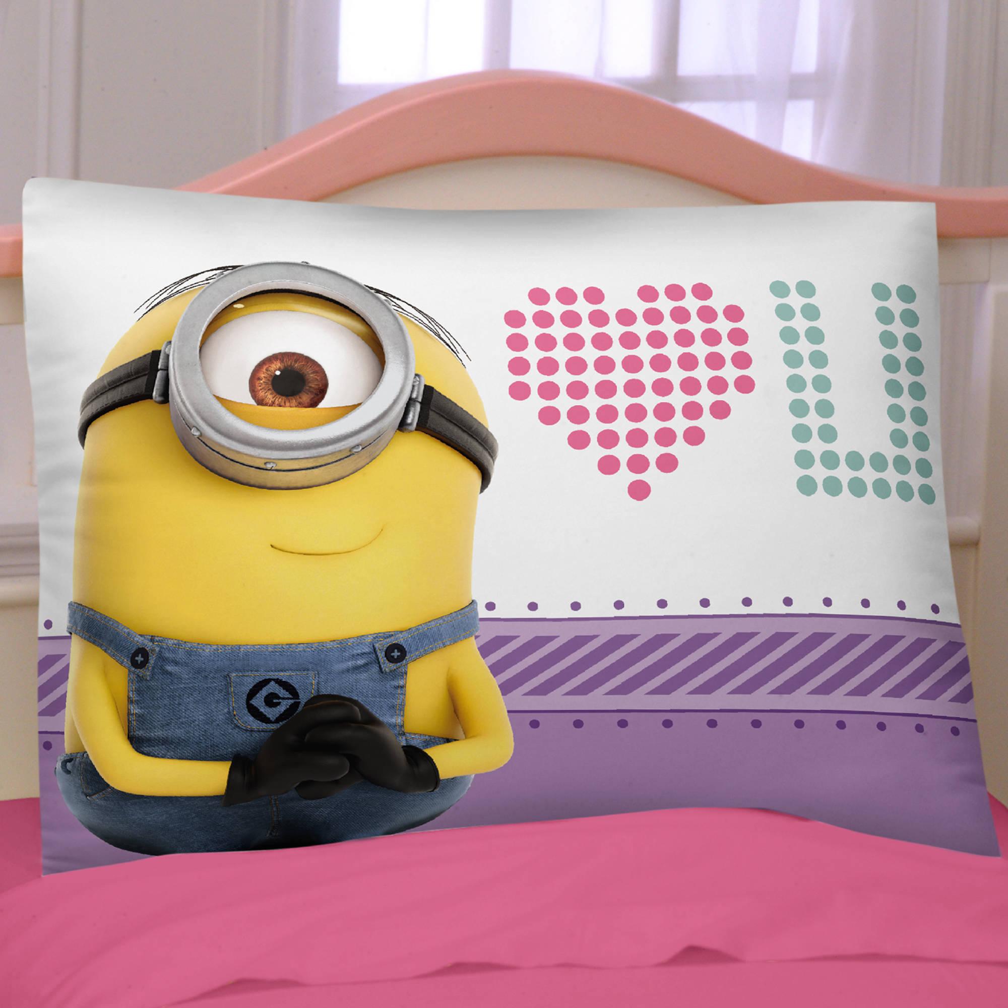 Minions Reversible Pillowcase, Pink/Purple