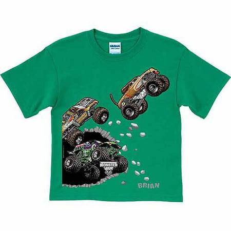 Personalized Monster Jam Breakout Boys' T-Shirt, Green (Big Green Monster)