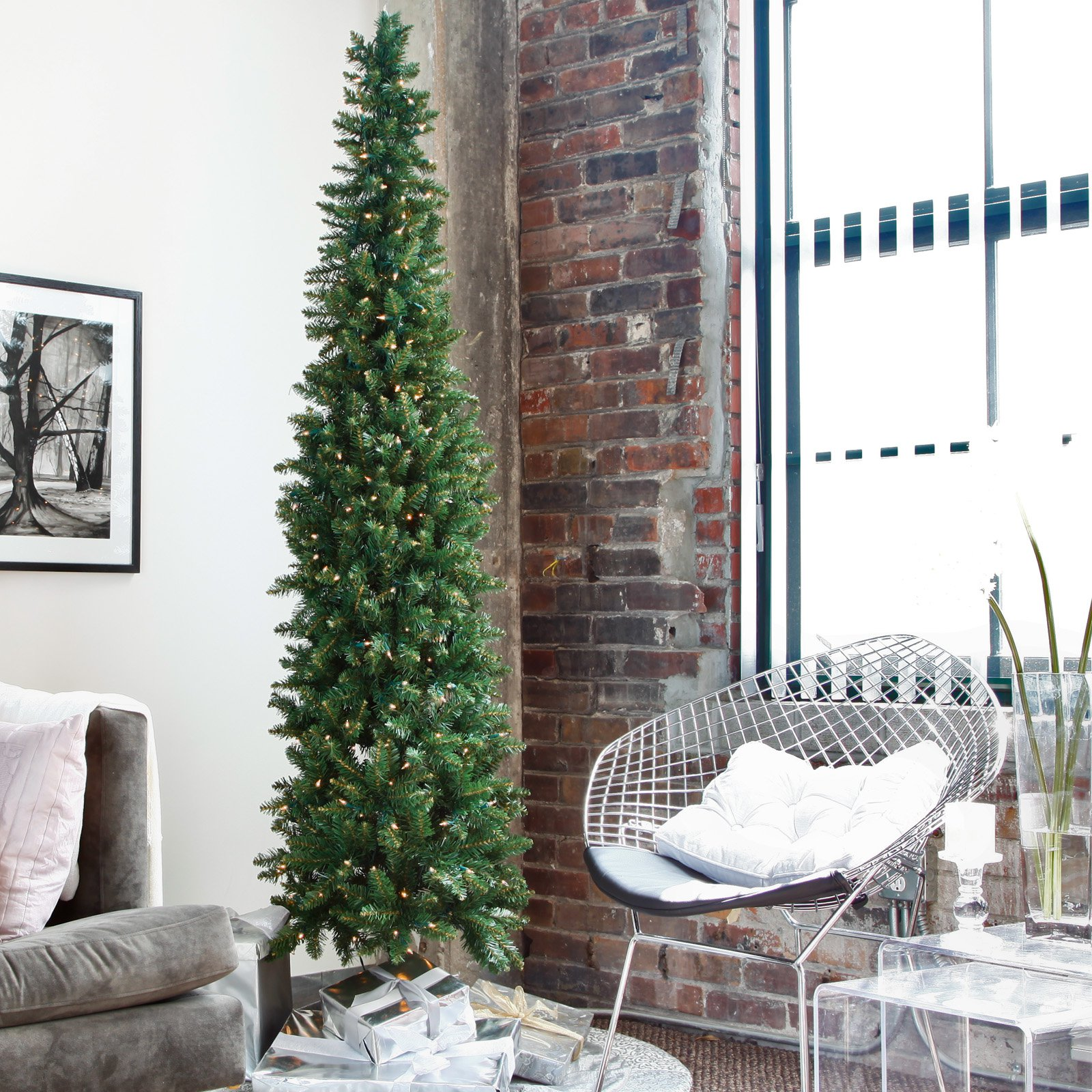 Classic Pine Pre-lit Pencil Christmas Tree