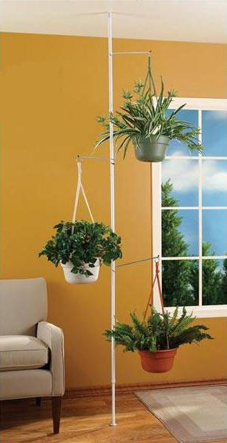 SPRING TENSION ROD INDOOR PLANT POLE WITH 3 ADJUSTABLE ARMS   Walmart.com