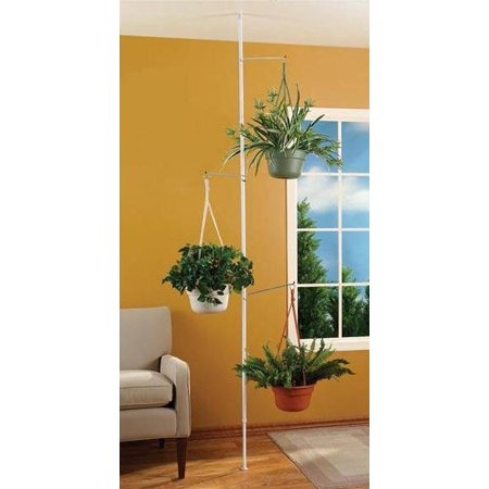 SPRING TENSION ROD INDOOR PLANT POLE WITH 3 ADJUSTABLE - Adjustable Plant