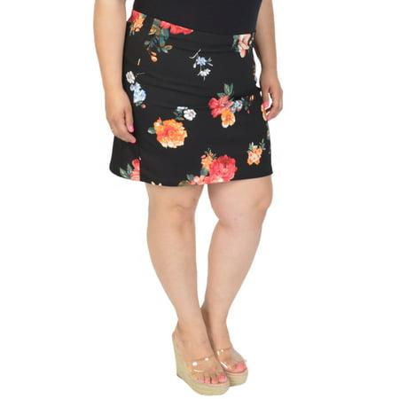 Stretch is Comfort Women's Floral Print Mini Skirt (Floral Print Mini Skirt)