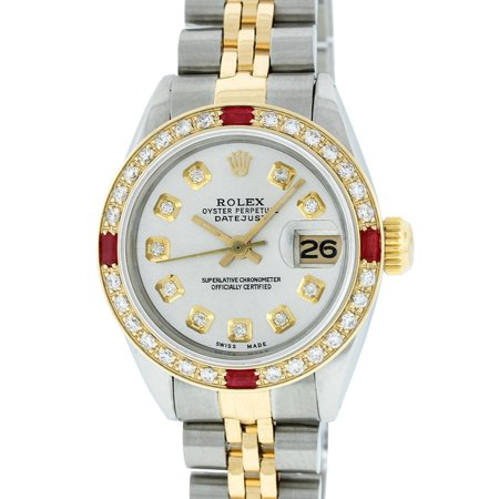 Pre-Owned Rolex Ladies Datejust Steel & 18K Yellow Gold Silver Diamond & Ruby Watch Jubilee
