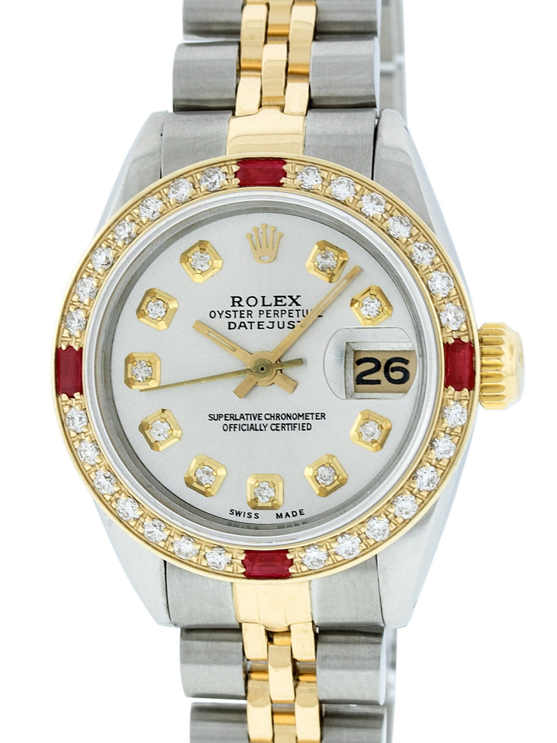 Pre-Owned Rolex Ladies Datejust Steel & 18K Yellow Gold Silver Diamond & Ruby Watch Jubilee Quickset