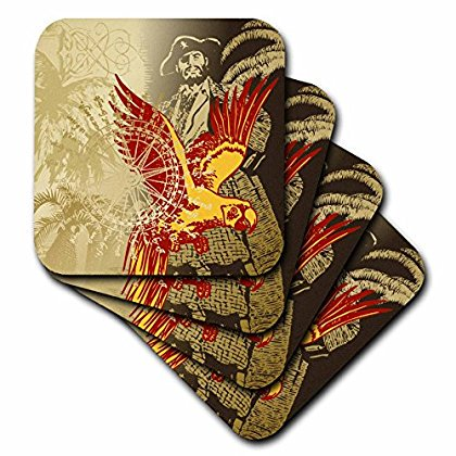 3dRose Pirate Theme with Palm Trees Compass Rose and Parrot, Soft Coasters, set of - Theme Pirate