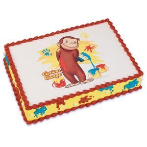 Remarkable Cute Curious George Monkey Edible Icing Image Cake Topper 1 4 Personalised Birthday Cards Beptaeletsinfo