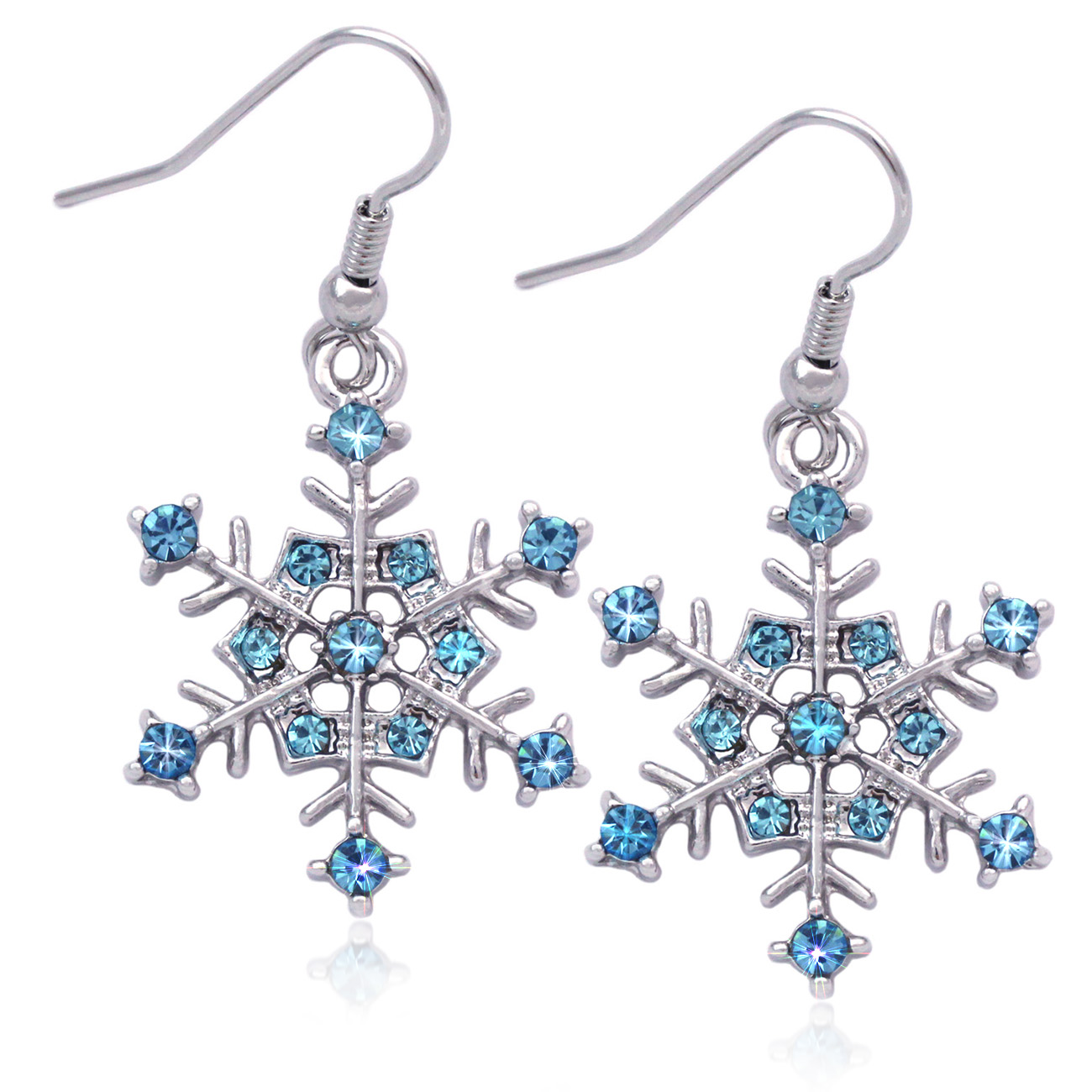 Lux Accessories Glitter Snowflake Christmas Xmas Dangle Earrings