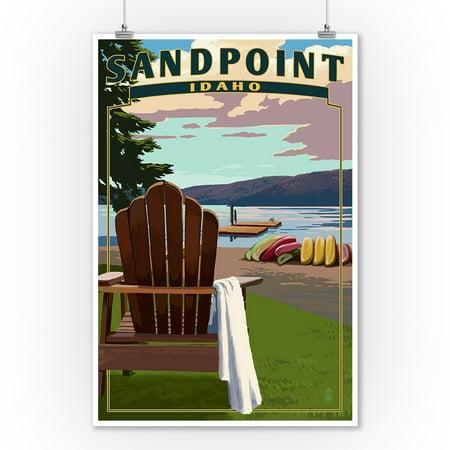Sandpoint, Idaho - Adirondack Chairs & Lake - Lantern Press Artwork (9x12 Art Print, Wall Decor Travel Poster)