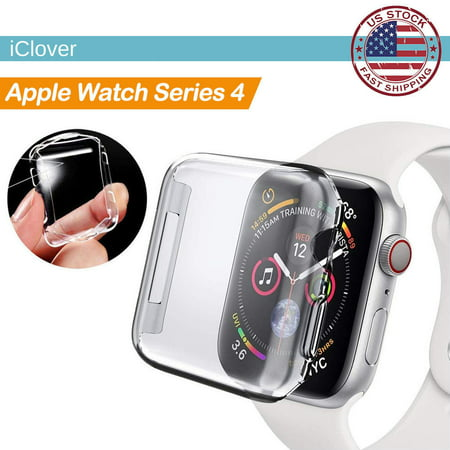 For Apple Watch Series 4 TPU Case Screen Protector,iClover 40mm Slim Full Body Clear Soft  Built-in Clear Glass Cover Anti-Scratch & Shockproof Hard PC Plated Bumper for iWatch Series 4 40mm (Tpv Series)