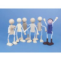 Unfinished Posable Wood Dolls, Pack of 6