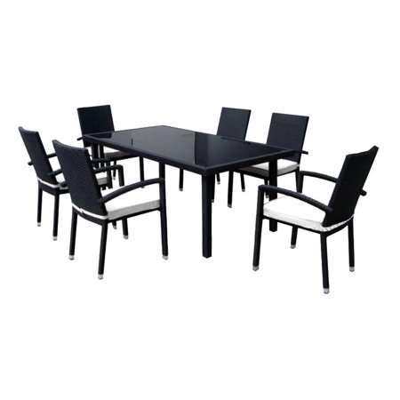 7 Piece Black Resin Wicker Outdoor Furniture Patio Dining