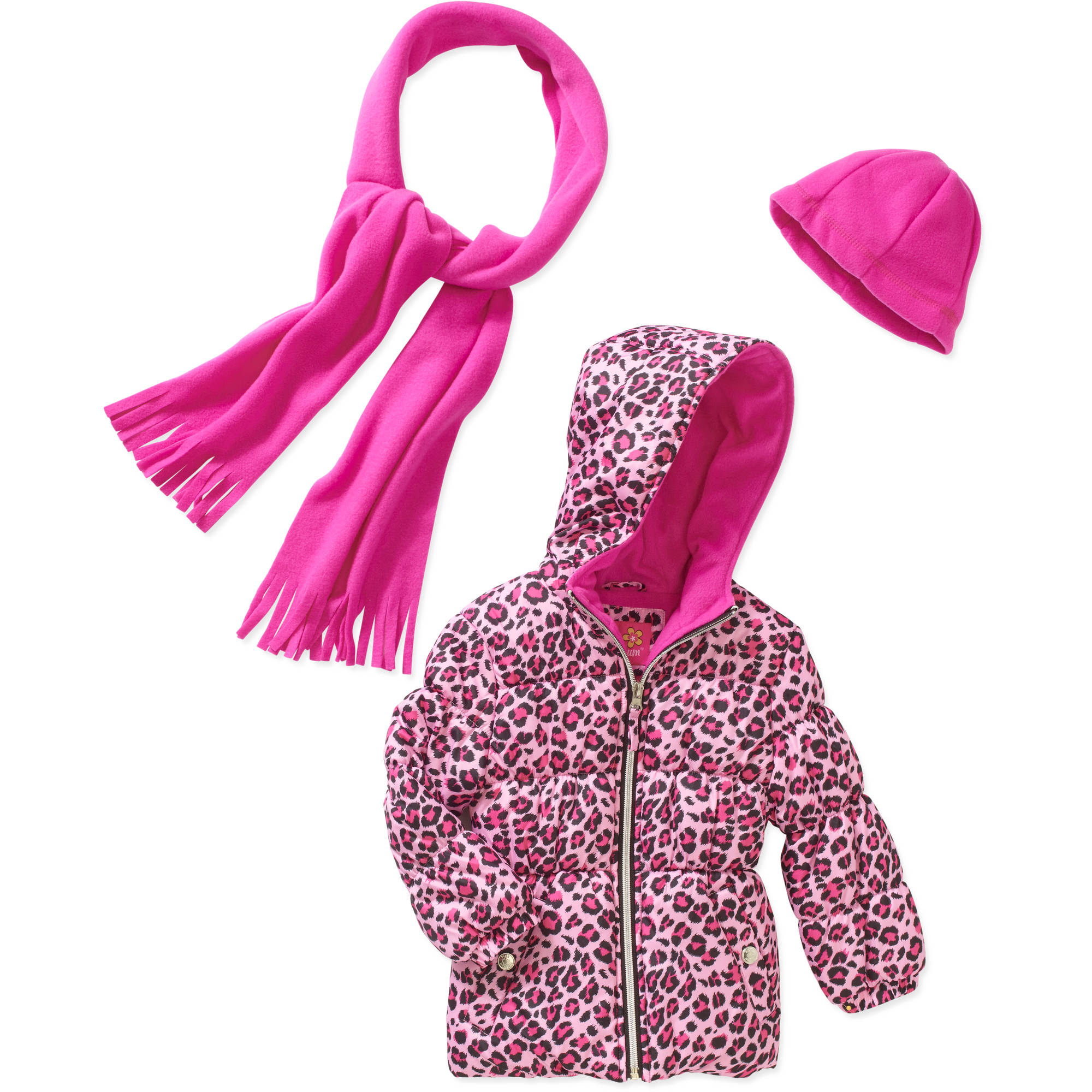 Pink Platinum Baby Toddler Girls' Hooded Cheetah Puffer Jacket with Free Bonus Scarf and Beanie Gift Set