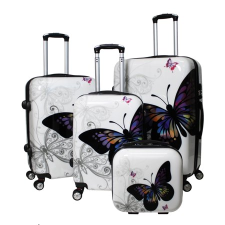 Image of All-Seasons Butterfly 4-Piece Hardside TSA Combination Lock Spinner Luggage Set