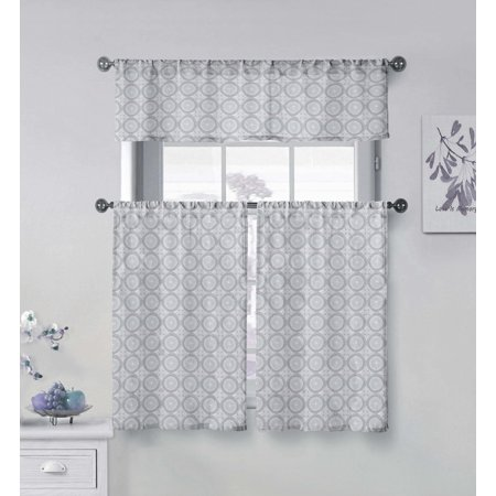 Vera Neumann Collection Gray and White 3 Piece Small Window Curtain Set Geometric Medallion Design, One Valance, Two Tiers 36 IN Long 100% Cotton ()