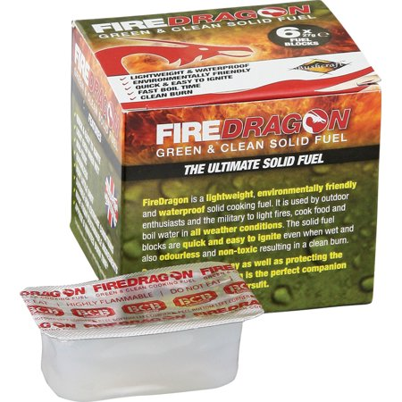 Bushcraft BUS336A FireDragon Solid Waterproof Fuel 6Pk Cubes 8 Minute Burn Time - Multi Fuel Stove Flue