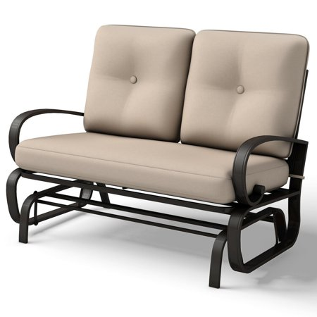 Costway Glider Outdoor Patio Rocking Bench Loveseat Cushioned Seat Steel Frame Furniture - Glider Outdoor Bench