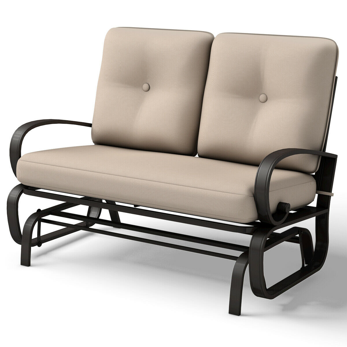 Costway Glider Outdoor Patio Rocking Bench Loveseat Cushioned Seat Steel Frame Furniture
