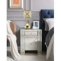 ACME Maisha Nightstand in Mirrored and Faux Crystals