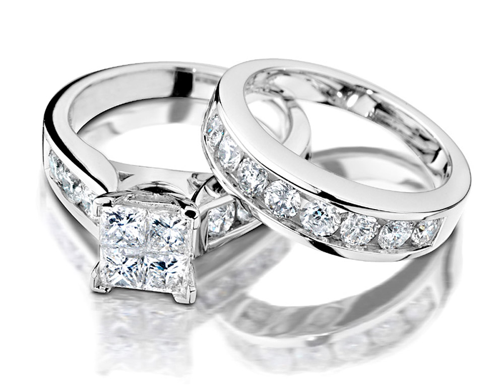 Princess Cut Diamond Engagement Ring and Wedding Band Set 1 Carat (ctw) in 10K White Gold by Gem And Harmony