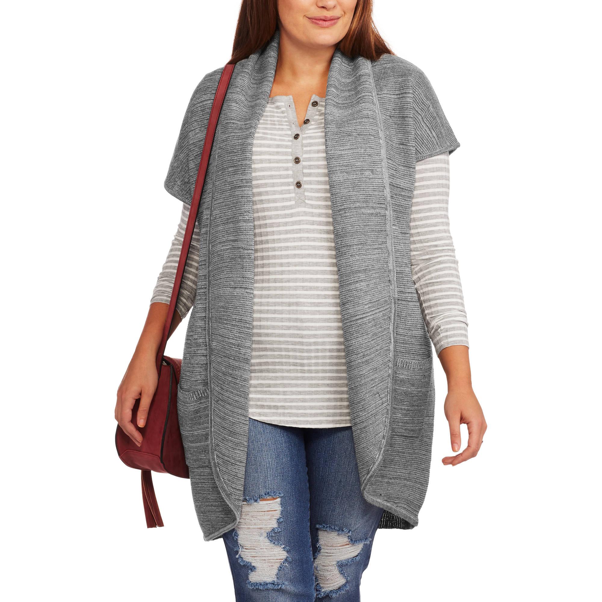 Concepts Women's Plus Size Shawl Collar Flyaway Sweater
