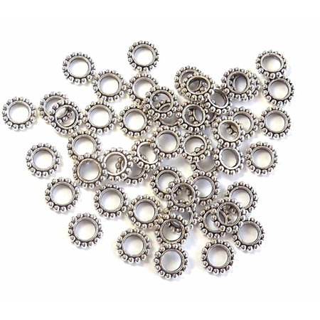 48 Antiqued Silver Plated Pewter Rondelle, Loose Beads, 9x2mm 4.5mm Hole (Antique Womens Beads)