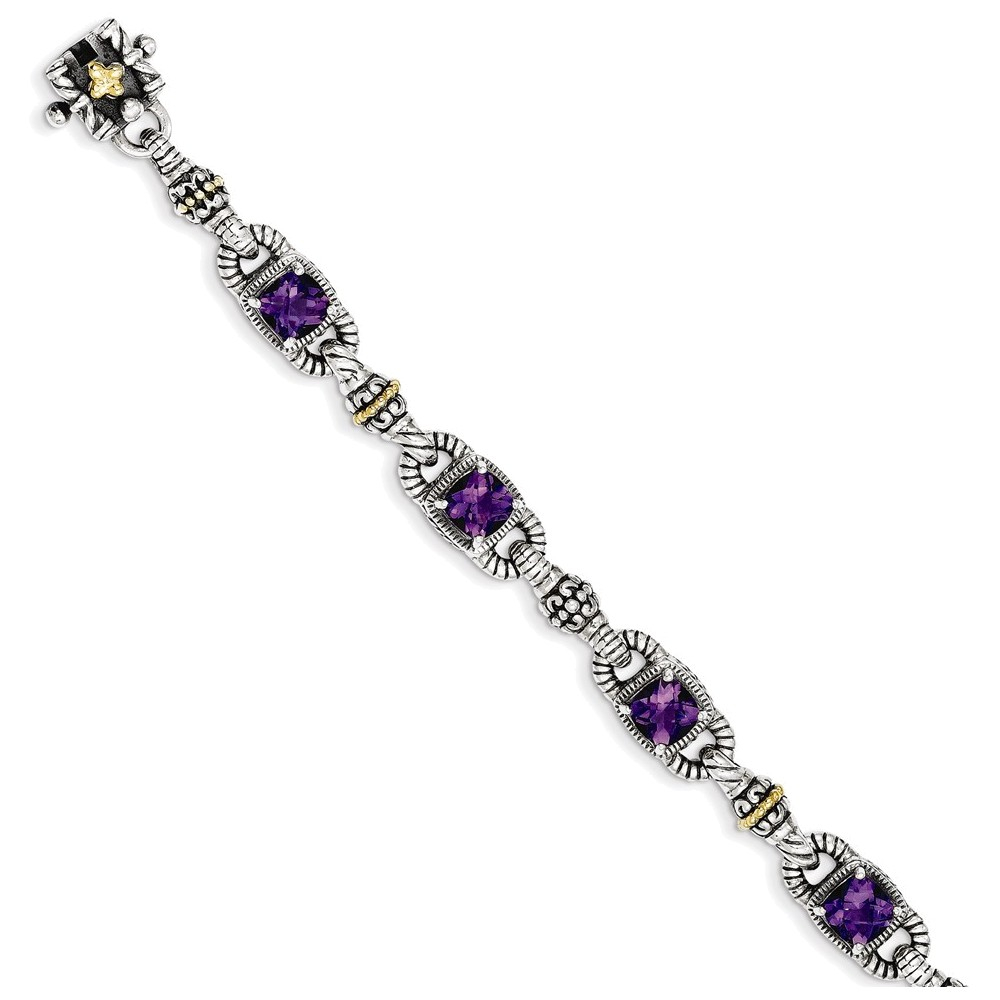 Sterling Silver w 14k Amethyst Antiqued Bracelet by