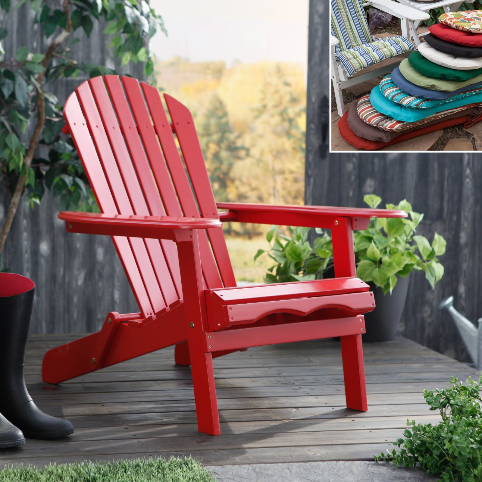 Cape Cod Foldable Red Adirondack Chair with Optional Cushion