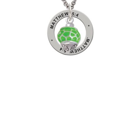 Silvertone Lime Green Giraffe Print Spinner Matthew 5:4 Affirmation Ring (Lime Giraffe)