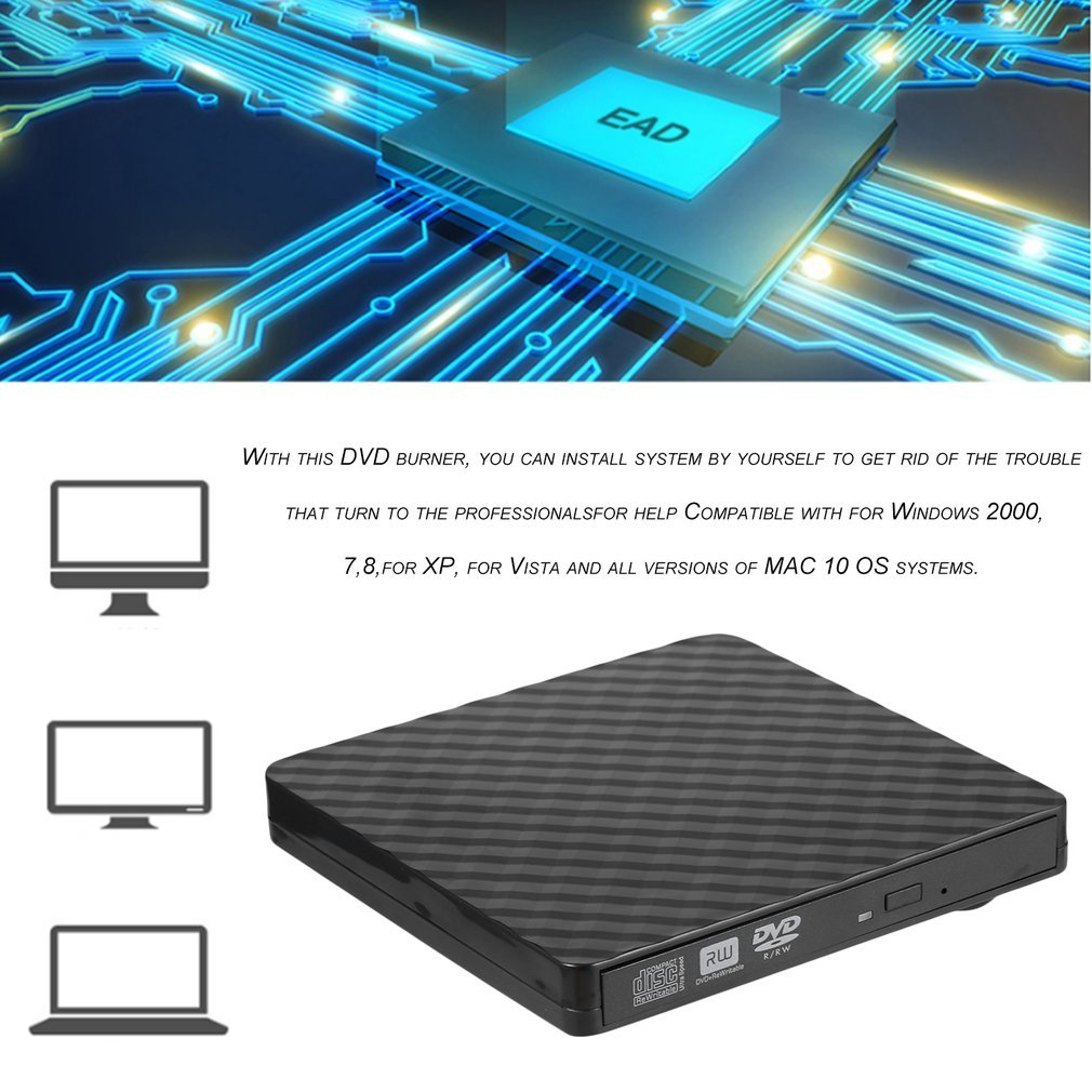 USB 3.0 DVD Burner DVD ROM Player External Optical Drive CD/DVD RW Writer Recorder Portable Drives for Laptop Computer