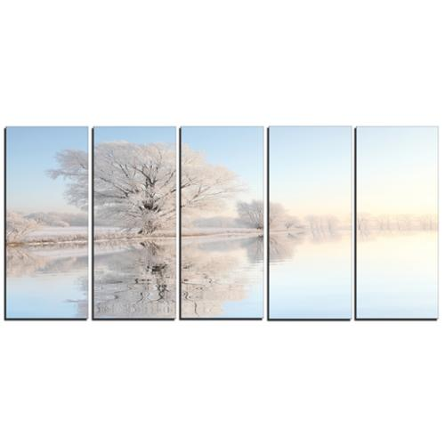 DESIGN ART Designart Frosty Winter Tree by Rising 5 Piece Photo Canvas Art Print by Overstock