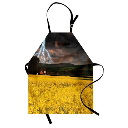 Nature Apron Thunderstorm over the Meadow Valley with Scary Dark Sky Rural Farm Scenery, Unisex Kitchen Bib Apron with Adjustable Neck for Cooking Baking Gardening, Yellow Green Purple, by Ambesonne](Scary Rotten Farms)