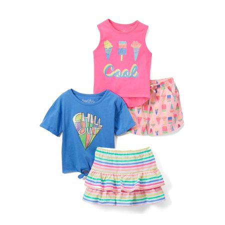 Freestyle Revolution Mix & Match Tank Top, T-shirt, Skirt and Shorts, 4pc Outfit Set (Toddler Girls)