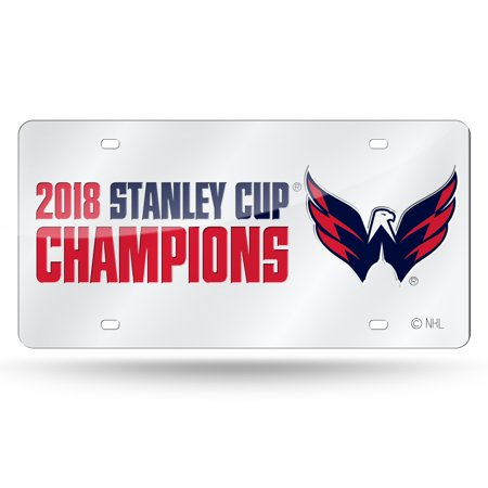 National Champions License Plate - Washington Capitals Official NHL 2018 National Champions License Plate Mirror by Rico 390561