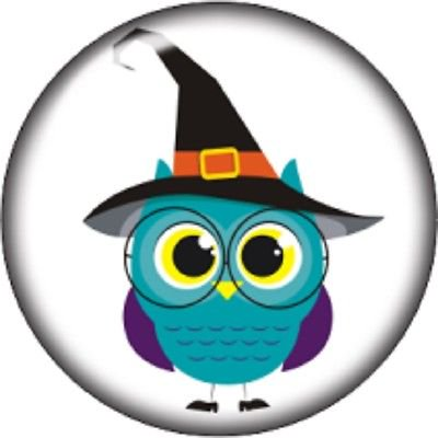 Snap button Owl Halloween Witch hat 18mm charm chunk - Origami Owl Halloween Charms 2017