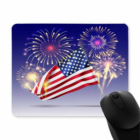 POP Rubber Durable USA Independence Day Celebration Holiday with Fireworks Mousepad, Computer Desk Stationery Accessories Mouse Pads 9x10 inch - image 1 of 2