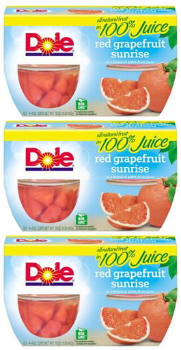(12 Cups) Dole Fruit Bowls Red Grapefruit in 100% Fruit Juice, 4 oz cups