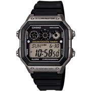 Men's Classic Digital Watch with Black Resin Strap with Grey Accents