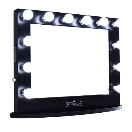 ReignCharm Hollywood Vanity Mirror, 12 LED Lights, Dual Outlets & USB, 32-inches x 27-inches, Matte