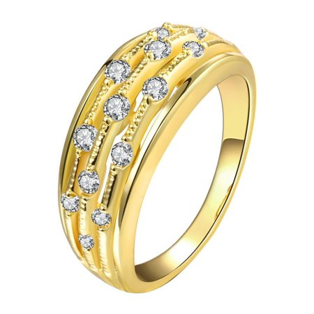 Aventura Jewellery Gold Plated Jewels Accent Modern Ring Size